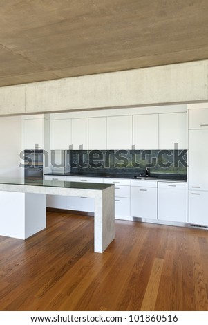 modern concrete house with hardwood floor, kitchen