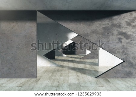 Foto mural Modern concrete interior with tunnel. 3D Rendering