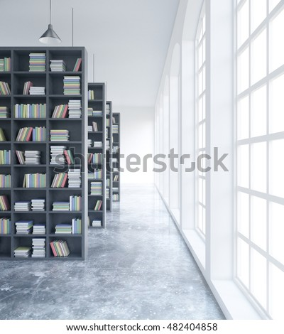 Modern concrete library interior with book shelves and daylight. 3D Rendering