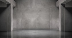 Modern Concrete Wall with Marble Floor and Pillars Background Empty Room