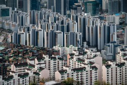 Modern condominium building or apartment in Seoul city, South Korea