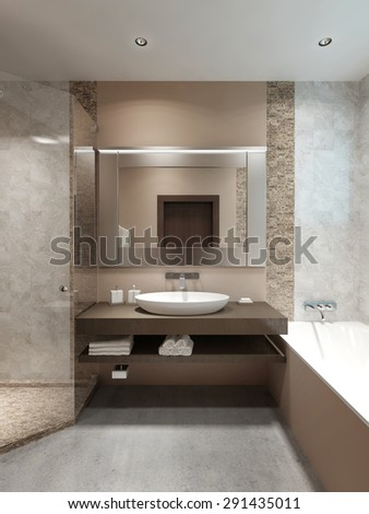 Modern console with sink, in the bathroom. Brown veneered wood. Contemporary in style. 3D render.