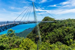 Modern construction - Sky bridge on Langkawi island. Adventure holiday. Tourist attraction of Malaysia. Travel concept.