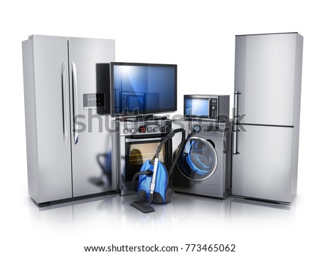 Modern consumer electronics on white background, TV, microwave, fridge, washer and electric-cooker. 3d illustration