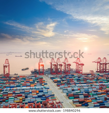 modern container terminal at dusk ,the busy logistics background