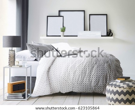Modern contemporary design. Interior View Of Beautiful Luxury Bedroom #623105864
