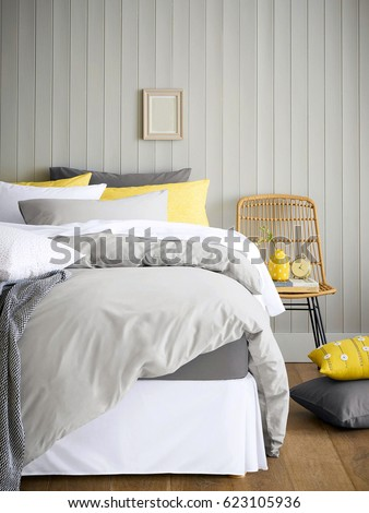 Modern contemporary design. Interior View Of Beautiful Luxury Bedroom #623105936