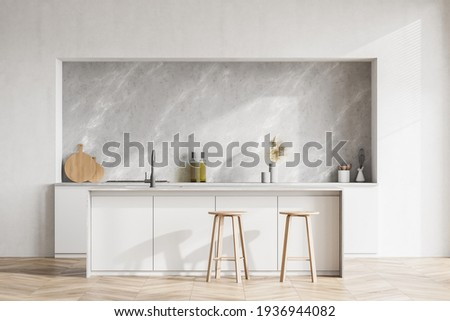 Modern contemporary design kitchen room interior. Dining island table with two stools. White and wood material. 3d rendering