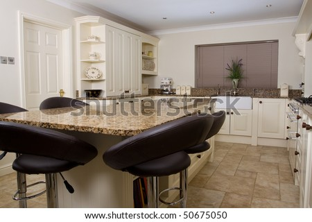 Modern Contemporary Kitchen Interior With Granite Worktop And ...