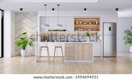 Modern Contemporary  kitchen room interior .white and wood material 3d render
