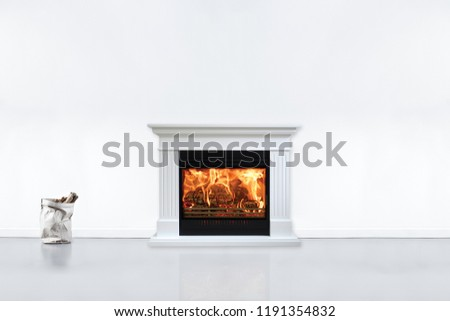 Modern contemporary liiving room with fireplace. View of fireplace in modern, new house. Stock fotó ©
