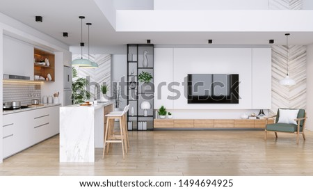 Modern Contemporary living and kitchen  room interior .white and wood material 3d render Photo stock ©