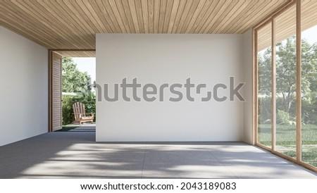Modern contemporary loft empty room with open door to garden 3d render The Rooms have concrete tile floors ,wooden plank ceiling