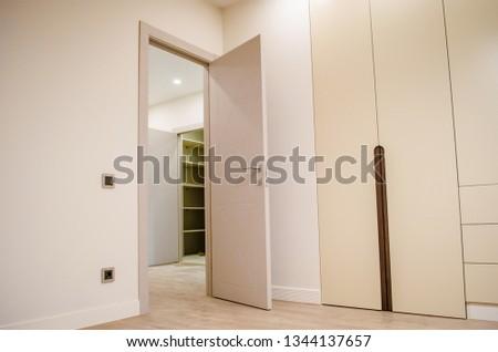 Modern contemporary wardrobe, minimalism interior style #1344137657