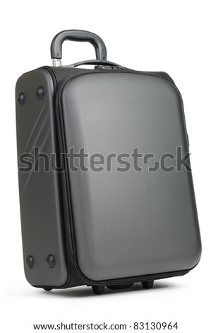 Modern convenient suitcase on castors on white background