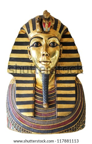 Modern copy of ancient egyptian Tutankhamen's mask isolated with clipping path