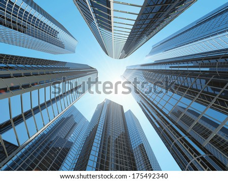 Modern Corporate Buildings in City Downtown District with Sun Light