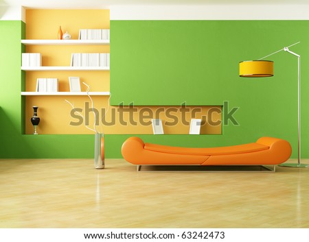 modern couch in a green living room - rendering