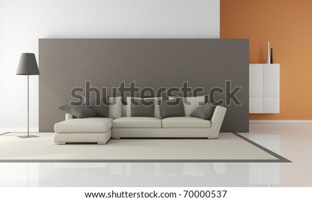modern couch in a minimalist lounge - rendering