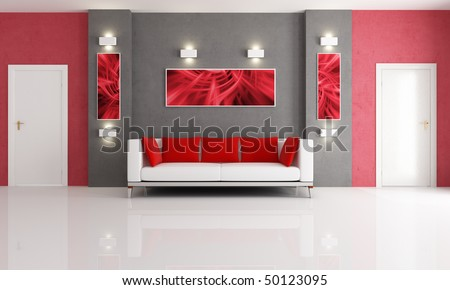Modern Couch In A Red And Gray Living Room With Two Door
