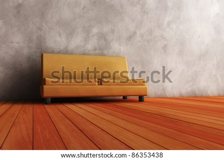modern couch in wooden interior.