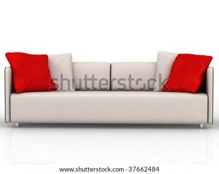 Modern Couch With Red And White Cushions Isolated On