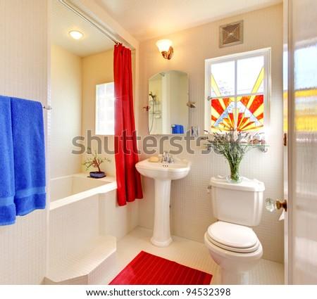 Modern covered in small white tiles bathroom