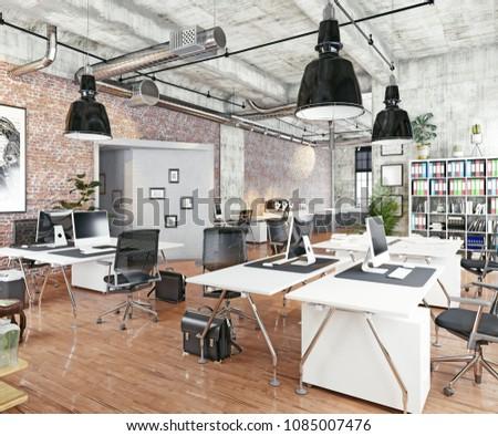 modern coworking loft office . 3d rendering concept