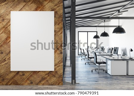 Modern coworking office interior with empty poster wall, city view and workplace. Mock up, 3D Rendering