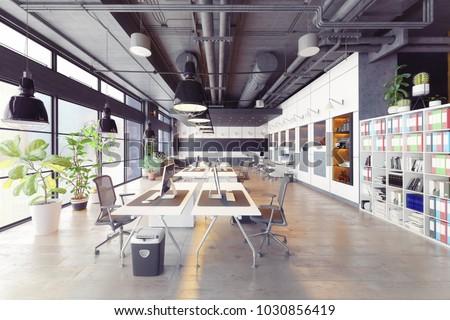 modern cozy loft office interior. 3d rendering ストックフォト ©