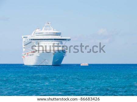 Modern cruise ship in the Caribbean Sea.