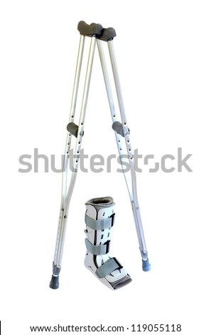 Modern Crutches and Cast Isolated on White
