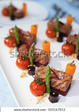 Modern Cuisine Dish On Restaurant Table Stock Photo 103167812 ...