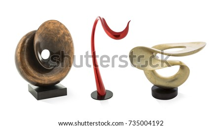 Modern curved sculptures isolated on white background - Shutterstock ID 735004192