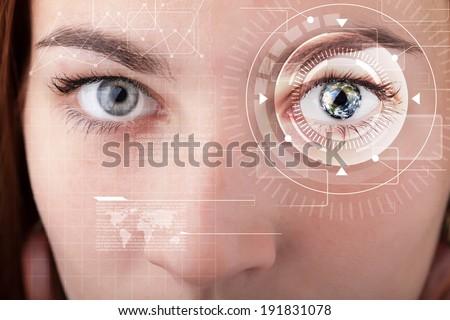 Modern cyber girl with technolgy eye looking #191831078