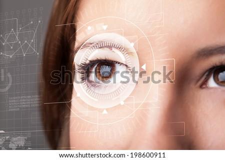 Modern cyber girl with technolgy eye looking #198600911