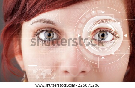 Modern cyber girl with technolgy eye looking #225891286
