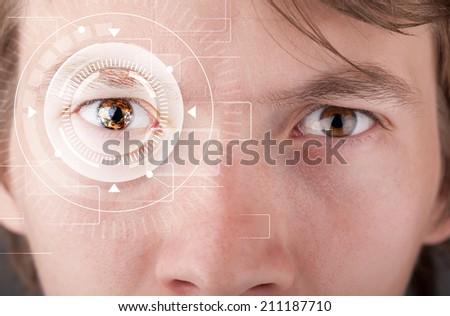 Modern cyber man with technolgy eye looking #211187710