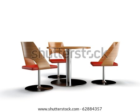 modern 3d chairs and table on the white background
