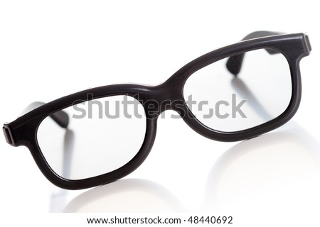 modern 3D glasses, old fashioned look, isolated