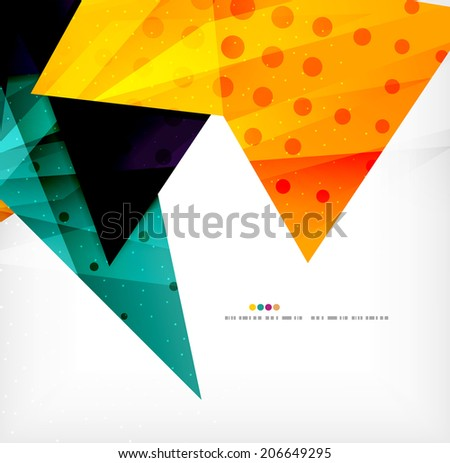 Modern 3d glossy overlapping triangles in different colors with texture and light effects. Business brochure background design with copyspace #206649295