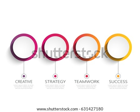 Modern 3D infographic template with 4 steps for success. Business circle template with options for brochure, diagram, workflow, timeline, web design