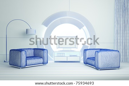 Modern 3d interior composition.