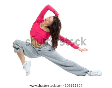 Modern dancer girl warming up, dancing, stretching on a white background