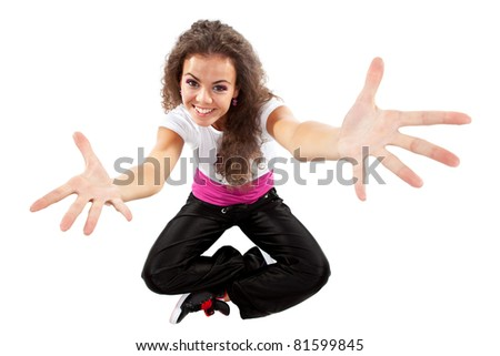 modern dancer poses with her arms open in front of the white background