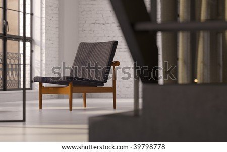 Modern Danish recliner in converted industrial loft interior (3D render)