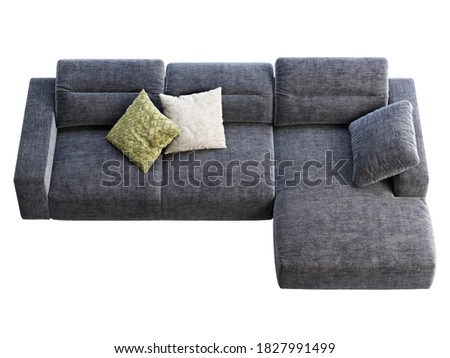 Modern dark blue fabric sofa with adjustable backrest. Textile upholstery chaise lounge sofa with pillows on white background. Modern, Loft, Scandinavian interior. 3d render Foto stock ©