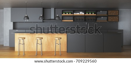 Modern dark kitchen interior with furniture and equipment. 3D Rendering