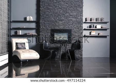 Modern dark luxury black interior with white chic furniture