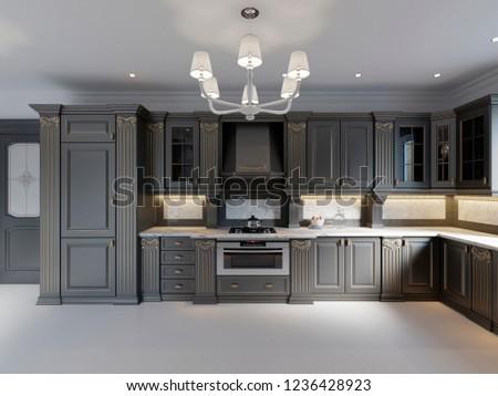 Modern dark wooden kitchen in classical style. 3D rendering #1236428923